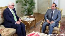 04.05.2015 * epa04732393 Egyptian President Abdel Fattah al-Sisi (R) meets with German Foreign Minister Frank Walter Steinmeier (L) in Cairo, Egypt, 04 May 2015. Steinmeier is on a two-day visit to Egypt EPA/KHALED ELFIQI +++(c) dpa - Bildfunk+++