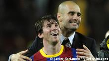 Barcelona's coach Josep Guardiola (R) celebrates with Barcelona's Argentinian forward Lionel Messi after the Champions League semi-final second leg football match between Barcelona and Real Madrid at the Camp Nou stadium in Barcelona on May 3, 2011. Barcelona qualified for the Champions League final after drawing 1-1 in their semi-final second leg clash with bitter rivals Real Madrid to progress 3-1 on aggregate. AFP PHOTO/JAVIER SORIANO (Photo credit should read JAVIER SORIANO/AFP/Getty Images)