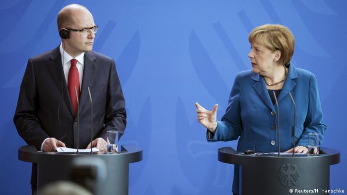 Bohuslav Sobotka and Angela Merkel