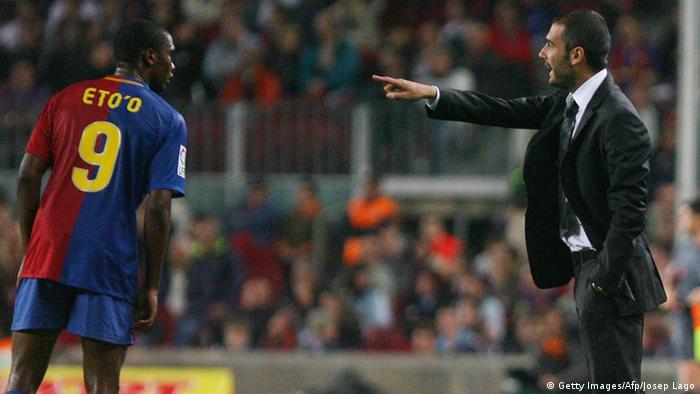 Josep Guardiola und Cameroonian Samuel Eto'o