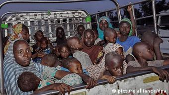 Nigerian women and children rescued from Boko Haram insurgents in Sambisa forest arrive under the care of the National Emergency Management Agency (NEMA) at Malkohi camp in Yola, Nigeria, 03 May 2015.