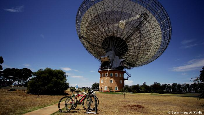 The Parkes Radio Telescope in Australia. It helped receive film footage of the first moon landing in 1969