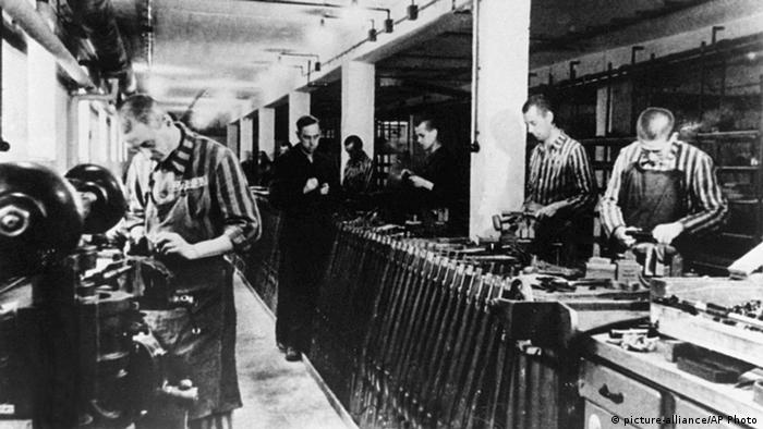 Forced laborers in Dachau concentration camp during WWII