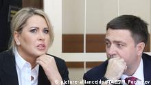 MOSCOW, RUSSIA. MAY 6, 2015. Yevgenia Vasilyeva, former head of the department of property relations of the Russian Defence Ministry, charged with fraud seen at the Mosocw District Presnensky Court before a verdict is announced in the Oboronservis embezzlement case. Pictured R is lawyer Dmitry Kharitonov. Mikhail Pochuyev/TASS