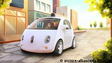 epa04538516 An undated artistic sketch handout picture released by Google on 23 December 2014 shows a prototype of a self-driving car. Google unveiled its first 'fully functional' self-driving car on 22 December 2014, the company said. 'Today we're unwrapping the best holiday gift we could've imagined: the first real build of our self-driving vehicle prototype,' the statement on the company's Google Plus social media site said. Google announced in May 2014 it would develop its own self-driving vehicles, which would use an array of sensors and computers to navigate streets without a driver at the controls. EPA/Google HANDOUT EDITORIAL USE ONLY/NO SALES