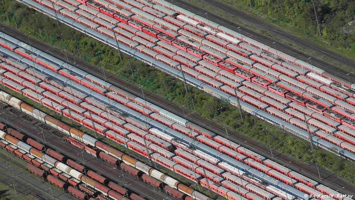 Bahnwaggons auf einem Rangierbahnhof in Hamm/Nordrhein-Westfalen