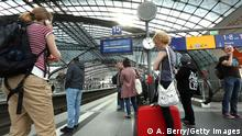 07.05.2015 * BERLIN, GERMANY - MAY 06: Passengers of German state rail carrier Deutsche Bahn wait for less frequent trains at the Hauptbahnhof, or main train station, during a week-long, nationwide rail strike by the GDL train drivers' union against Deutsche Bahn on May 6, 2015 in Berlin, Germany. Freight train drivers began their strike May 4 at 2pm, passenger train drivers yesterday morning, and they are scheduled to strike until Sunday, making it the longest strike in the history of Deutsche Bahn. The GDL is in a long-drawn conflict with Deutsche Bahn over working hours and pay. (Photo by Adam Berry/Getty Images)