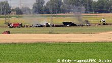 09.05.2015+++ Picture shows wreckage of an Airbus A400M military transport plane after crashing near Sevilla on May 9, 2015. An Airbus A400M military transport plane carrying 'eight to 10' people crashed near Seville in southern Spain on Saturday while apparently on a test flight, officials said. AFP PHOTO / CRISTINA QUICLER (Photo credit should read CRISTINA QUICLER/AFP/Getty Images)