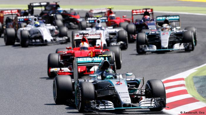 Drivers jostle for positions at the Formula One race in Barcelona