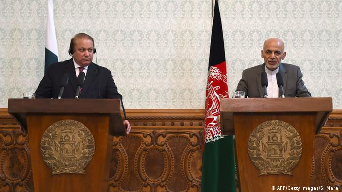 Afghan President Ashraf Ghani (R) speaks during a press conference while Pakistani Prime Minster Nawaz Sharif (L) looks on at the Presidential palace in Kabul on May 12, 2015 (Photo: SHAH MARAI/AFP/Getty Images)