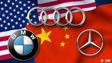 Symbolbild Deutsche Automarken Audi Mercedes Benz BMW USA China