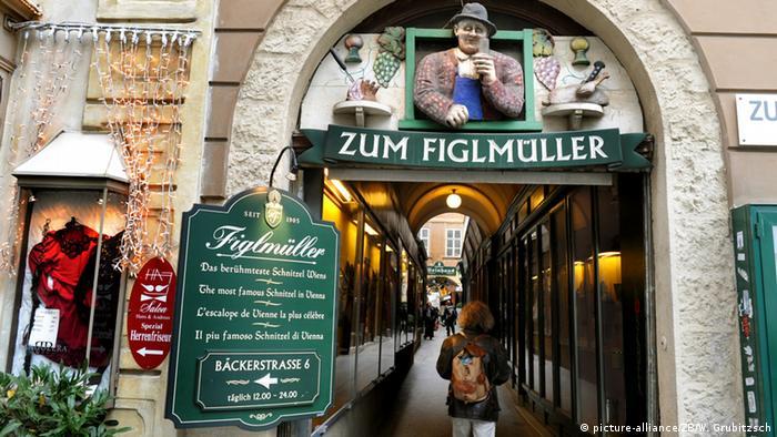 Переулок, в котором расположен ресторан Zum Figlmüller