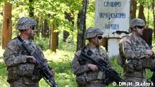 Übung amerikanischer Militär-Ausbilder mit ukrainischen Soldaten. Alle Bilder sind in Yavoriv in der Nähe von Lemberg entstanden. Bild: DW-Korrespondentin in Lemberg Halyna Stadnyk