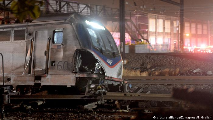 A crashed Amtrak train
