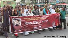 12.05.2015 **** epa04744687 Activists of the Gonojogoron Moncho movement protest against the killing of Bangladeshi blogger Ananta Bijoy Das, in Dhaka, Bangladesh, 12 May 2015. The blogger was murdered in Bangladesh on 12 May, the third such attack in less than three months in the Muslim-majority South Asian country, police said. Unidentified assailants hacked Anata Bijoy Das to death at Subidh Bazar in the north-eastern city of Sylhet, about 200 kilometres from Dhaka, police confirmed. Das, a banker by profession, was an activist for the Gonojogoron Moncho group that demands a secular Bangladesh. He was attacked soon after he left his home to go to work in the morning. EPA/STR