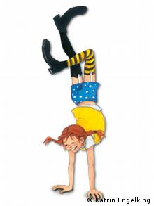 Pippi Longstocking doing a handstand