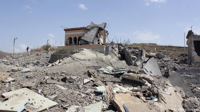 Jemen - Zerstörte Gebäude in Ibb