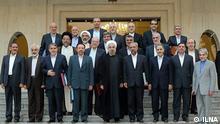 Der iranische Präsident, Hasan Rohani und sein Kabinett