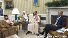 US President Barack Obama meets with Saudi Crown Prince Mohammed bin Nayef (C), Deputy Crown Prince Mohammed bin Salman (L) and Foreign Minister Adel al-Jubeir in the Oval Office at the White House in Washington, DC, on May 13, 2015. AFP PHOTO/NICHOLAS KAMM (Photo credit should read NICHOLAS KAMM/AFP/Getty Images)