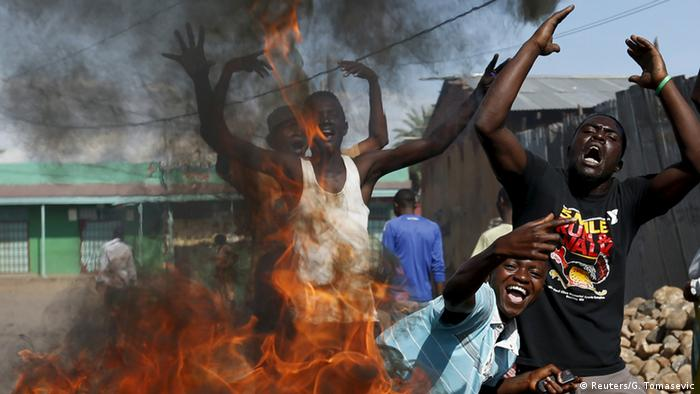 Protesters burn tyres in the streets of Burundi's capital Bujumbura.