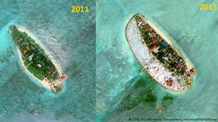 Один из рифов в Южно-Китайском море в 2011 и 2015 годах