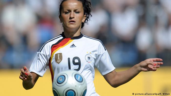 Fatmire Lira Alushi playing for Germany's women's national soccer team