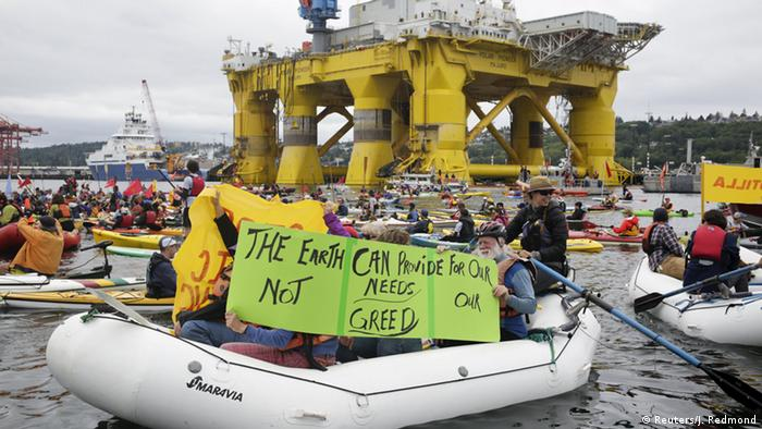 Activists protest the Shell Oil Company's plans to resume Arctic Drilling.