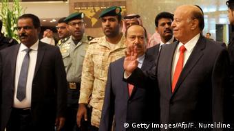 Presidente exilado iemenita, Abd Rabbuh Mansur al-Hadi, durante evento em Riad