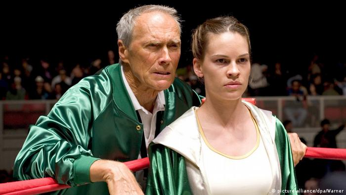 Clint Eastwood with Hilary Swank in Million Dollar Baby