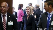 EU Mogherini beim EU-Außen- und Verteidigungsministertreffen