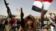 18.05.2015 Houthi followers hold their rifles as they demonstrate against Saudi-led air strikes in Yemen's capital Sanaa May 18, 2015. Saudi-led forces resumed military operations in Yemen after a five-day ceasefire ended late on Sunday, and Yemen's foreign minister blamed the Iranian-backed Houthis for failure to renew the truce. REUTERS/Khaled Abdullah