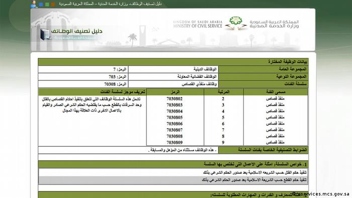 Screenshot Webseite eservices.mcs.gov.sa