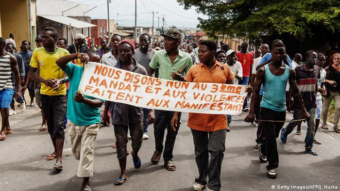 Protesters in Bujumbura with a banner saying 'no to Nkurunza's third bid'