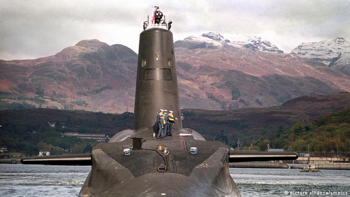 England Royal Navy nuclear submarine at Faslane