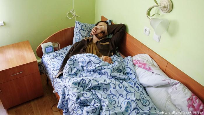Взятый в плен украинскими военными Евгений Ерофеев в госпитале