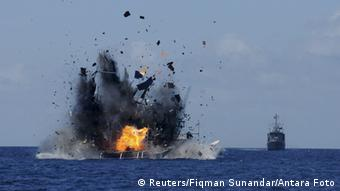 Indonesia destroys a ship fishing illegally in its South China Sea waters