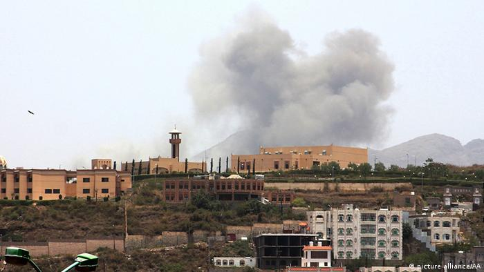 Smoke rising from buildings after airstrikes on the city of Ibb. Adil Al-Sharay / Anadolu Agency