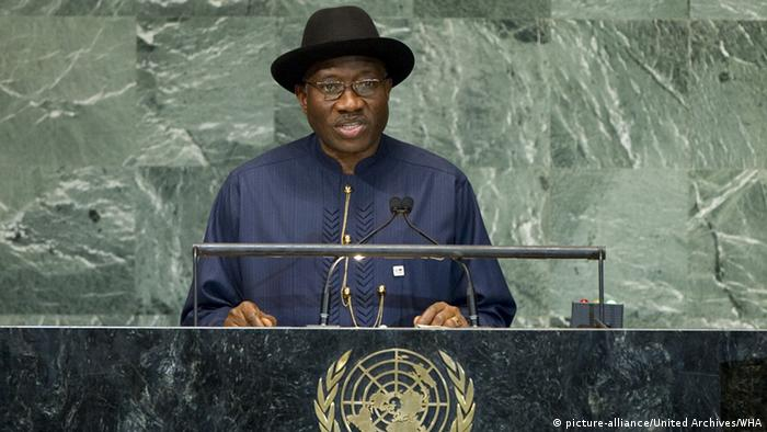 Former Nigerian president Goodluck Jonathan speaks at the UN (picture-alliance/United Archives/WHA)
