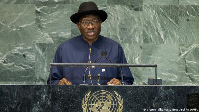 Former Nigerian president Goodluck Jonathan speaks at the UN
