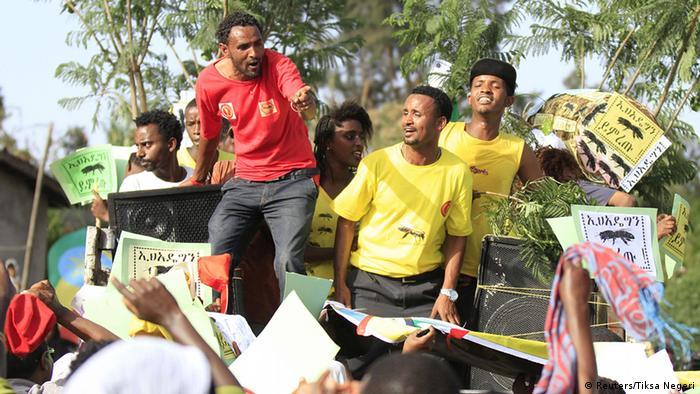 Äthiopien vor der Wahl EPRDF Anhänger in Addis Abeba