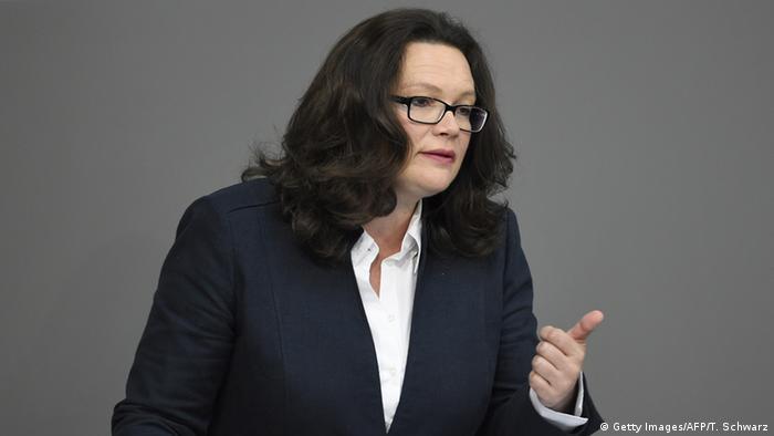 Deutschland Bundestag Andrea Nahles Gesetz zur Tarifeinheit