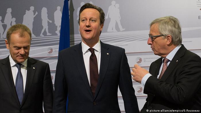 David Cameron with Tusk and Juncker in Riga