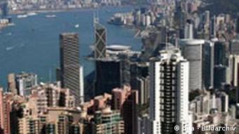 Blick vom Peak auf die Skyline von Hongkong Island