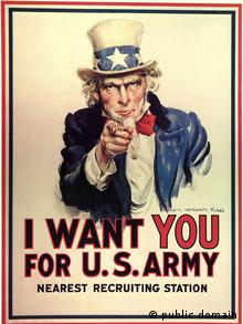 Poster with Uncle Sam reading 'We want you poster'