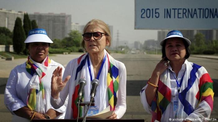 Gloria Steinem and two other activists ahead of march AP Photo/Jon Chol Jin