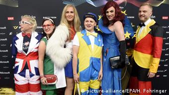 Colorfully dressed fans at the ESC 2015 in Austria