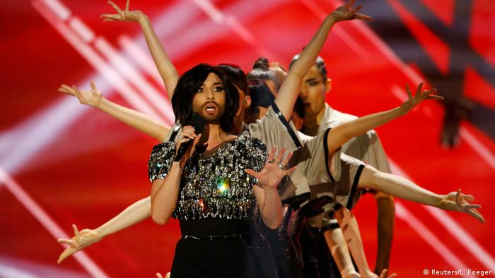 Conchita Wurst of Austria performs during the final of the 60th annual Eurovision Song Contest