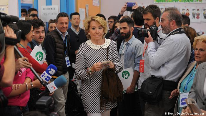 Esperanza Aguirre, Popular Party candidate for Mayor of Madrid arrives to cast her vote at a polling statiion on May 24, 2015 in Madrid, Spain.