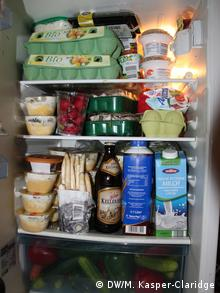 A refrigerator full of expired food