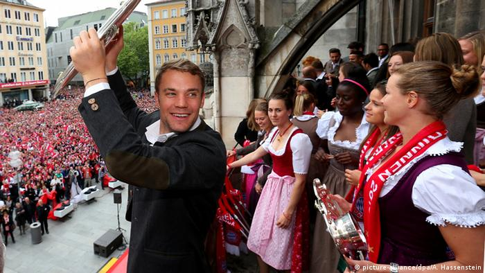 Manuel Neuer at Bayern Munich celebrations in Munich